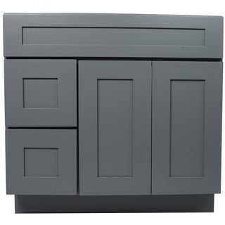 Everyday Cabinets Shaker Grey Wood 36-inch Single Sink Bathroom Vanity Cabinet
