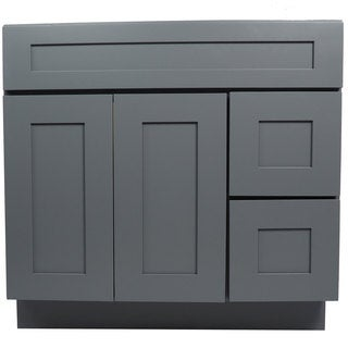 Everyday Cabinets Grey Shaker 36-inch Single Sink Bathroom Vanity Cabinet