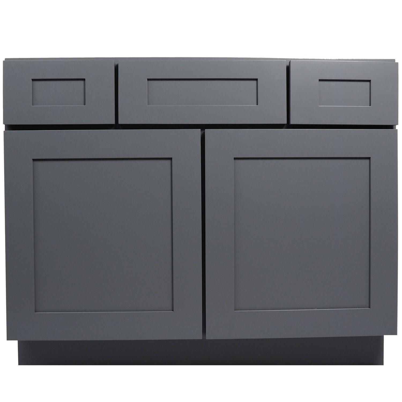 Shop Black Friday Deals On Everyday Cabinets Shaker Grey Wood 42 Inch Single Sink Bathroom Vanity Cabinet Overstock 12068827