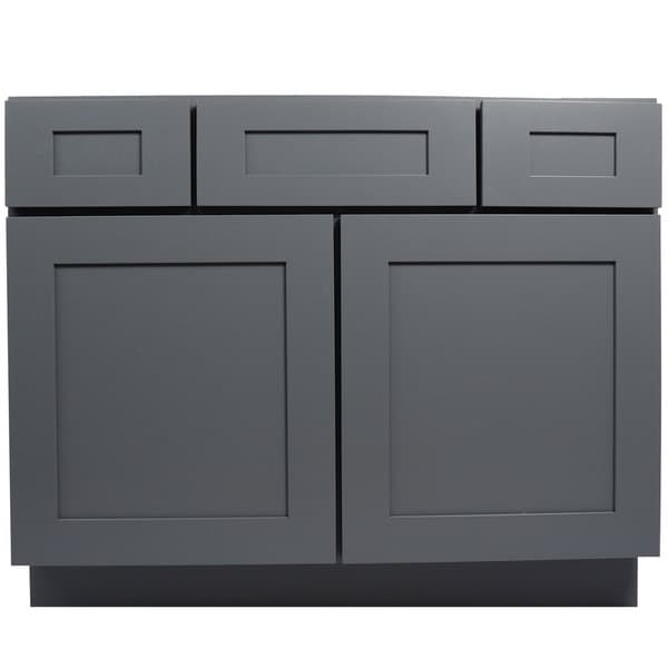 Everyday Cabinets Shaker Grey Wood 42-inch Single Sink ...