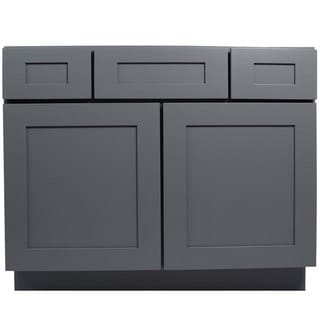 Everyday Cabinets Shaker Grey Wood 42-inch Single Sink Bathroom Vanity Cabinet