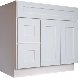 Everyday Cabinets White Shaker 36-inch Single Sink Bathroom Vanity Cabinet