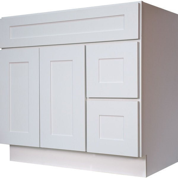 Everyday Cabinets White Shaker 36 Inch Single Sink Bathroom Vanity Cabinet