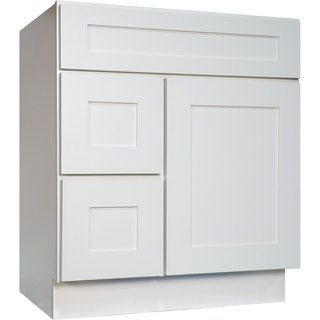 Everyday Cabinets White Shaker 30-inch Single Sink Bathroom Vanity Cabinet