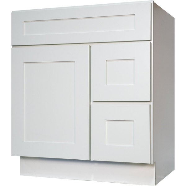Everyday Cabinets Shaker White Wood 30 Inch Single Sink Bathroom Vanity Cabinet