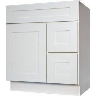 Everyday Cabinets Shaker White Wood 30-inch Single Sink Bathroom Vanity Cabinet