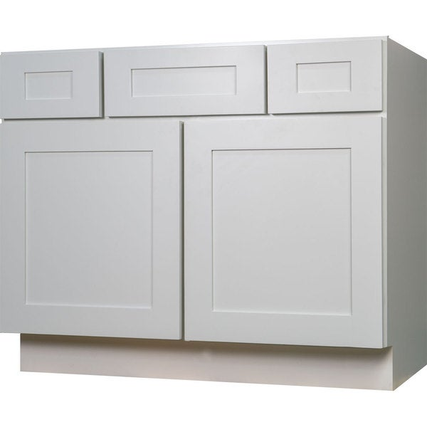Everyday cabinets shaker 42 inch white wood single sink for 42 inch kitchen cabinets
