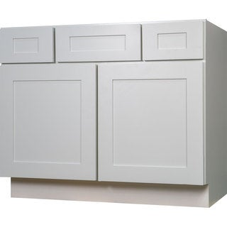 Everyday Cabinets Shaker 42-inch White Wood Single Sink Bathroom Vanity Cabinet