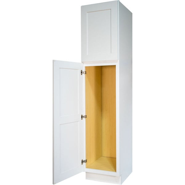 Everyday Cabinets Shaker White Wood 18 Inch Bathroom Vanity Linen Cabinet