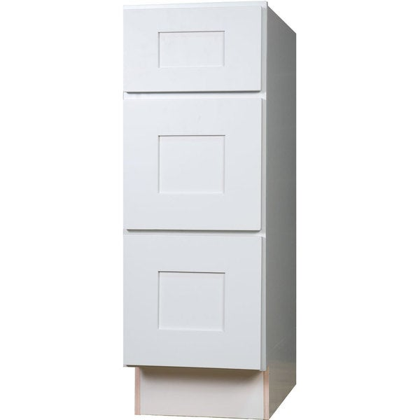 Everyday Cabinets White Shaker 12 Inch Bathroom Vanity Drawer Base Cabinet