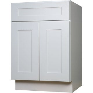 Everyday Cabinets SWHV2721 White Wood 27-inch Single Sink Bathroom Shaker Vanity Cabinet