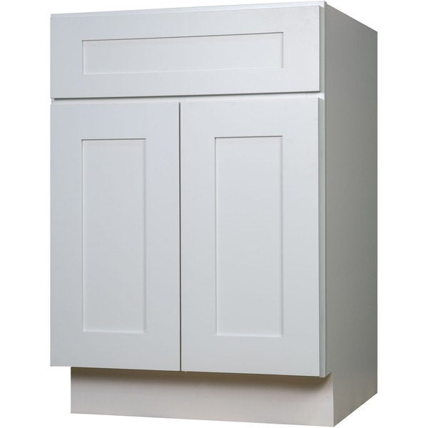 Everyday Cabinets Shaker White Wood 24 Inch Single Sink Bathroom Vanity  Cabinet