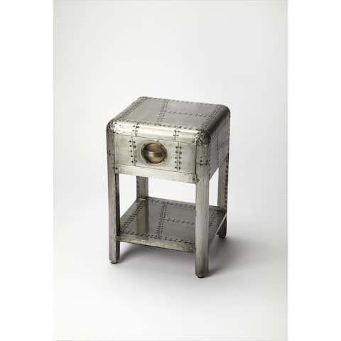 Handmade Yeager Off-White Aluminum MDF Wood Aviator End Table (India)