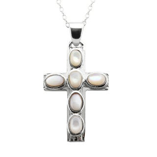 Toulon Mother of Pearl Cross Pendant Necklace