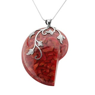 Toulon Large Red Coral Pendant Necklace