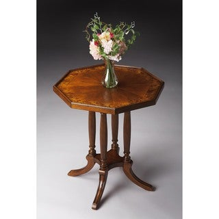 Handmade Butler Adolphus Brown MDF, Resin, Veneer, Wood Octagonal End Table (China)