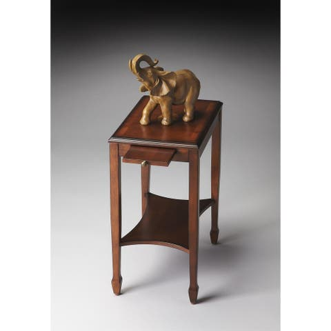 Handmade Butler Gilbert Olive Ash Varnished Wood Veneer Burl End Table