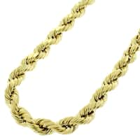 14k Gold 6.5mm Solid Rope Diamond-cut Chain