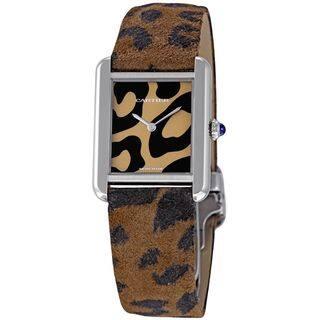 Cartier Women's W5200015 'Tank Solo' Panther Pattern Leather Watch