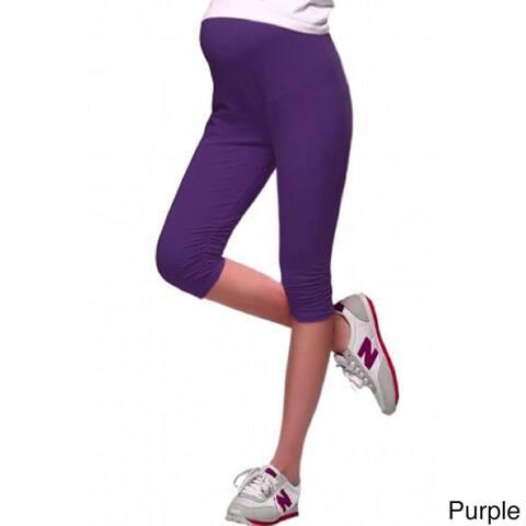Women's Cotton Ruched-leg Maternity Adjustable-waist Soft Capri Pants