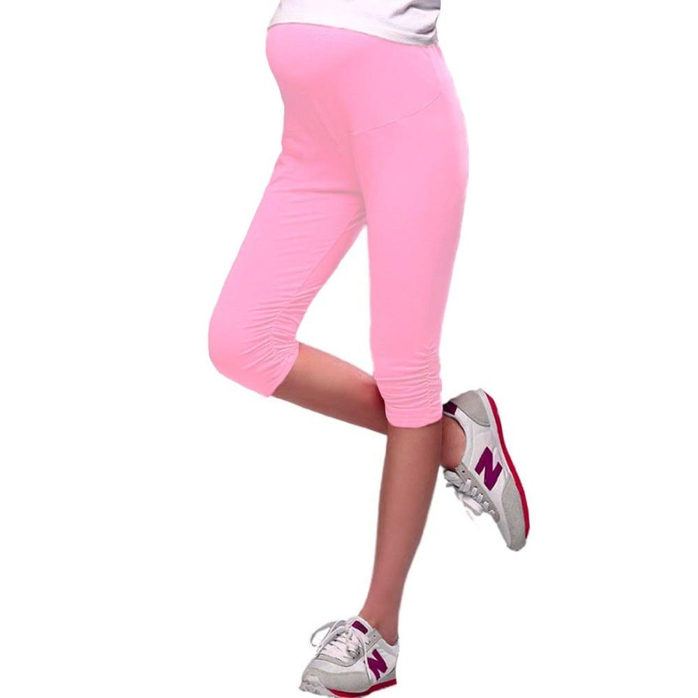 Womens Cotton Ruched-leg Maternity Adjustable-waist Soft Capri Pants