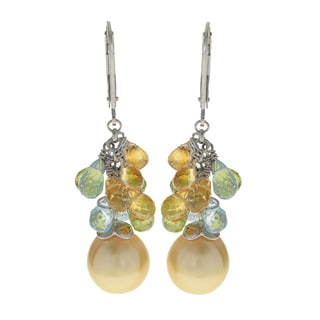 Pearls For You Sterling Silver Golden South Sea and Multi-gemstone Dangle Earrings
