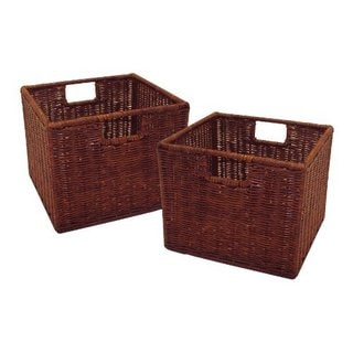 Leo Tan Rattan Small Wired Baskets (Set of 2)