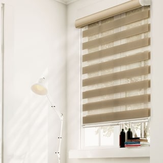Chicology Free-Stop Cordless Zebra Roller Shade, Striped - Zebra, Sheer or Privacy - West Taupe