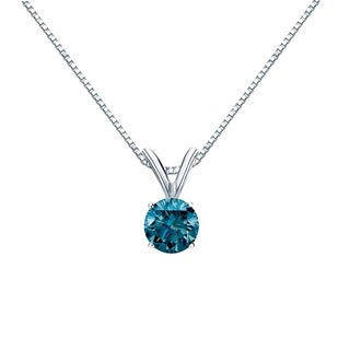 Auriya 14k Gold 1/3ct TDW Round Cut Blue Diamond Solitaire Necklace (Blue, I1-I2)