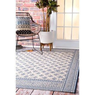 nuLOOM Modern Bordered Pattern Outdoor Blue Rug (5'3 x 7'6)