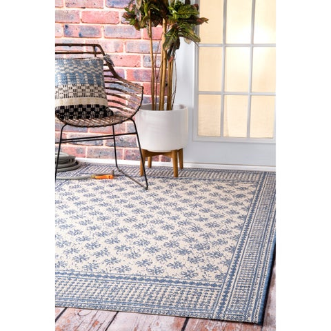 nuLOOM Modern Bordered Pattern Outdoor Blue Rug - 7'10 x 11'2