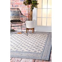 "nuLOOM Modern Bordered Pattern Outdoor Blue Rug (7'10 x 11'2) - 7'10"" x 11'2"""