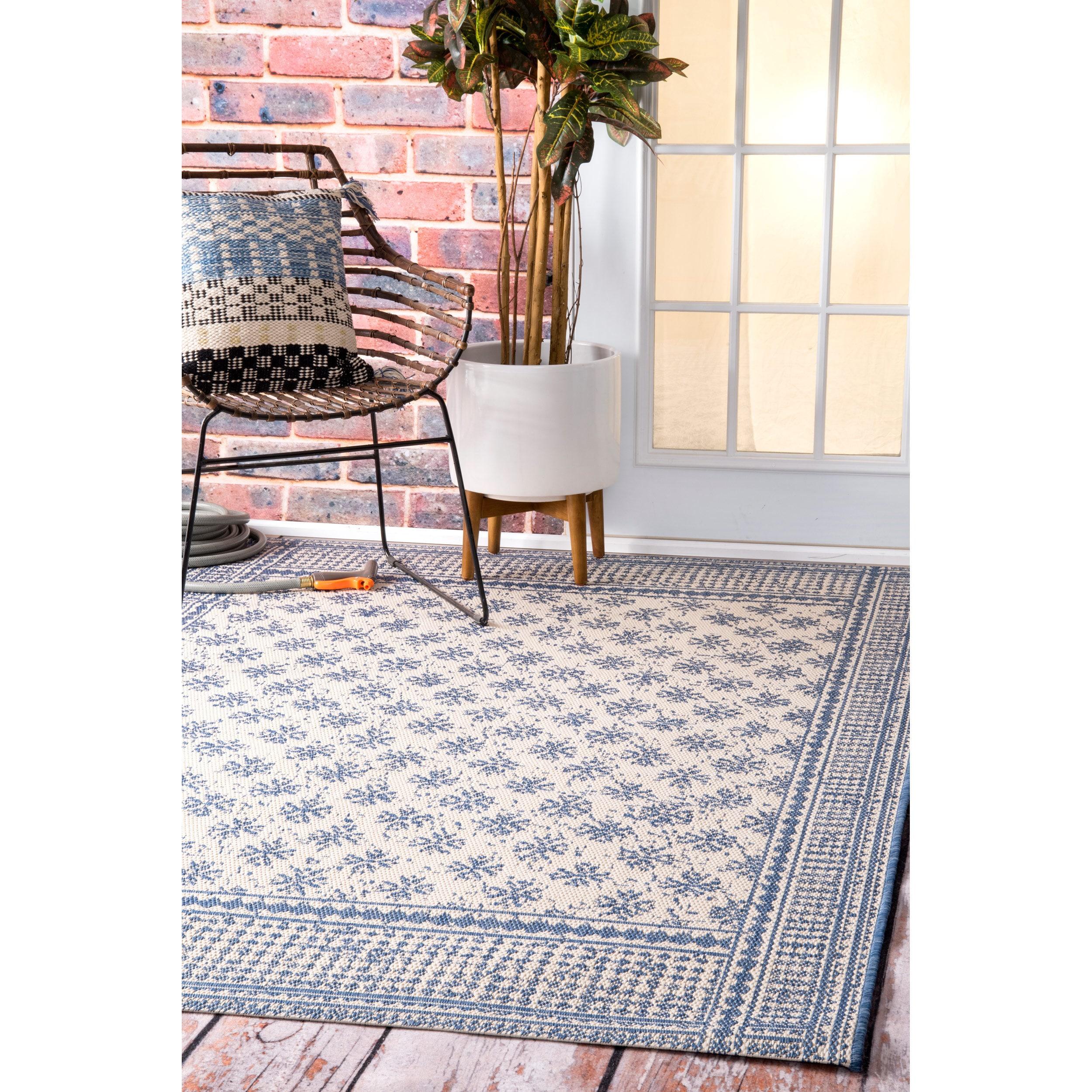 Nuloom Blue Modern Bordered Pattern Outdoor Area Rug 841388181185 Ebay