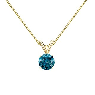 Auriya 14k Gold 1/2ct TDW Round-Cut Blue Diamond Solitaire Necklace (Blue, I1-I2)