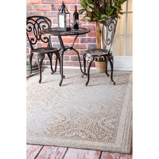nuLOOM Distressed Faded Floral Outdoor Ivory Rug (7'10 x 11'2)