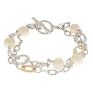 Pearls for You 14k White Gold/Sterling Silver 9.5 to 10-millimeter Freshwater Pearl 2-strand Link 7.5-inch Station Bracelet