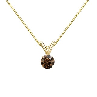 Auriya 14k Gold 1/4ct TDW Round-Cut Brown Diamond Solitaire Necklace (Brown, SI1-SI2)