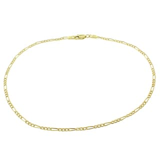 14k Gold Hollow Figaro Link Anklet