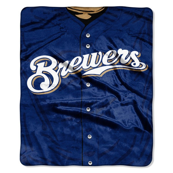 MLB 0705 Brewers Jersey Raschel Throw