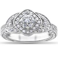 14k White Gold 3/4ct TDW Diamond Cluster Halo Vintage Engagement Ring
