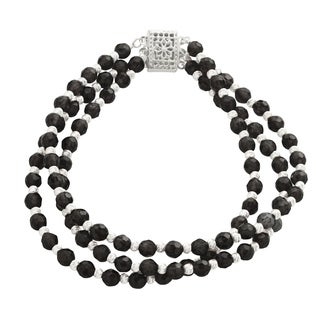 Gems For You 7.5-inch Sterling Silver 3-row Black Onyx and Brilliance Bead Bracelet