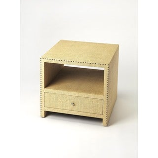 Butler Danilo Cream Raffia MDF and Aluminum End Table