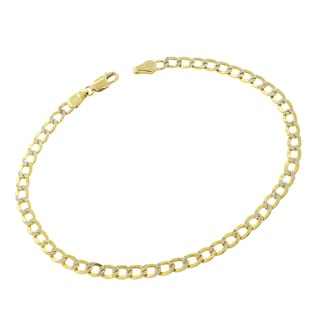 14k Gold 3.5mm Hollow Two-tone Cuban Curb Link Diamond-cut Pave Bracelet