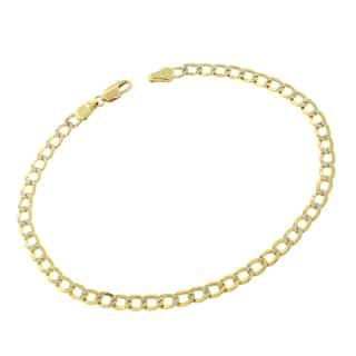 14k Gold 3.5mm Hollow Two-tone Cuban Curb Link Diamond-cut Pave Bracelet https://ak1.ostkcdn.com/images/products/12069640/P18937596.jpg?impolicy=medium