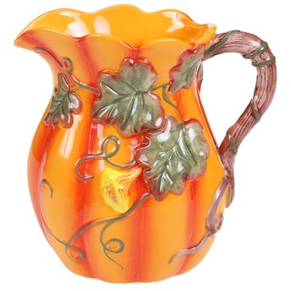 Certified International Orange Botanical Harvest 3D Pitcher (2.5-quart)