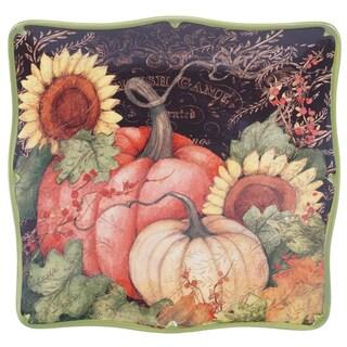 Susan Winget 19334 Multi-color Ceramic 12.5-inch Certified International Botanical Harvest Square Platter