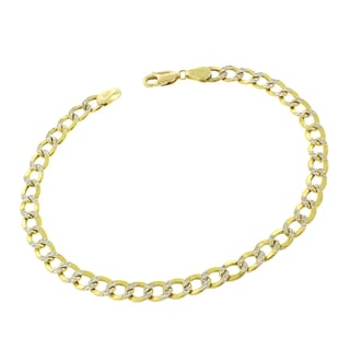 14k Gold 5mm Hollow Two-tone Cuban Curb Link Diamond-cut Pave Bracelet