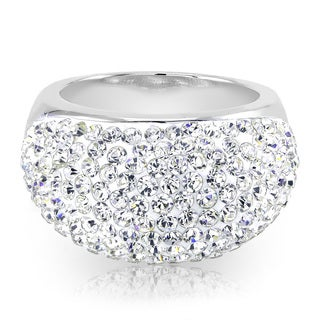 Rhodium-plated Clear Crystal Dome Ring