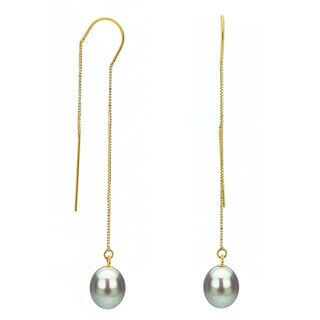 DaVonna 14k Yellow Gold 7-8mm Grey Cultured Freshwater Pearls Box Chain Hoop Dangle Earrings