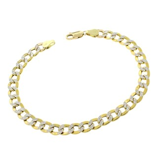 "14k Yellow Gold 6.5mm Hollow Cuban Curb Link Diamond Cut Two-Tone Pave Bracelet Chain 8"", 8.5"", 9"""